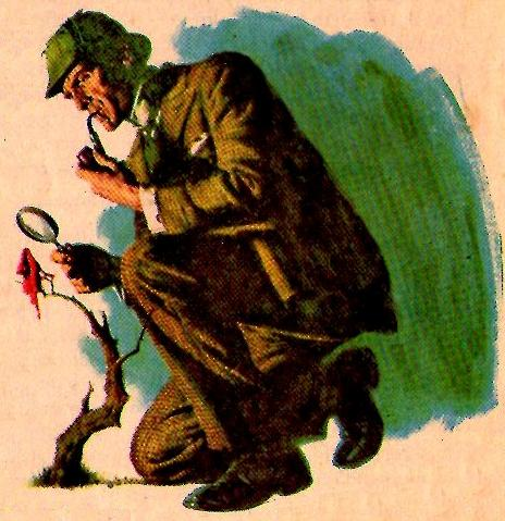 Representação de Sherlock Holmes, na ilustração original da matéria